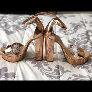 Rose gold thick heel